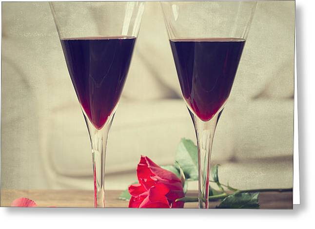 Red Wine And Roses Greeting Card by Amanda And Christopher Elwell