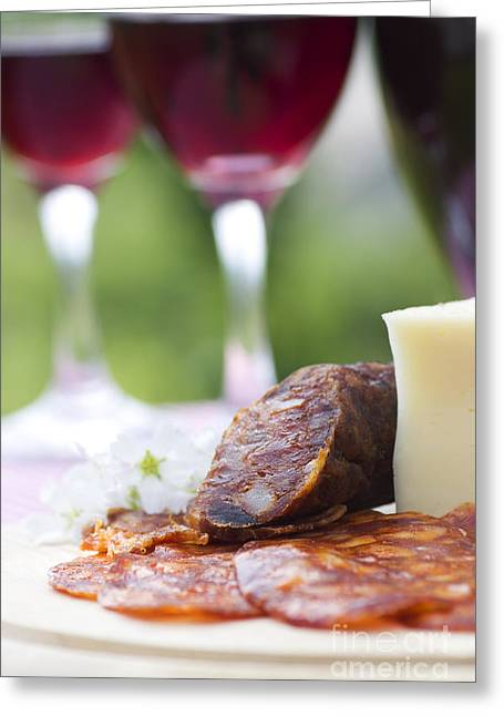 Mythja Greeting Cards - Red wine and sausage with cheese Greeting Card by Mythja  Photography