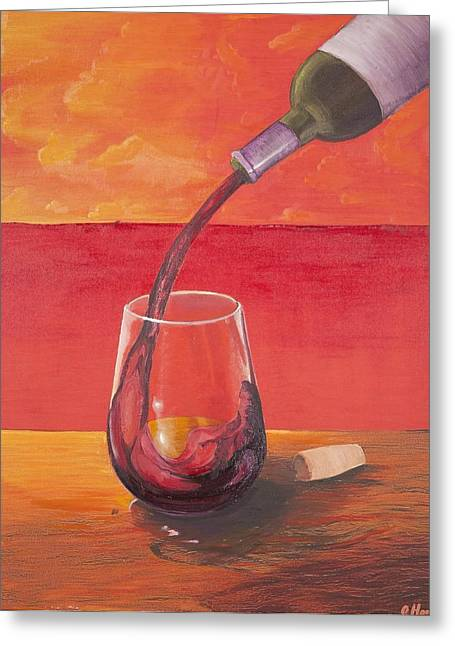 Wine Pouring Paintings Greeting Cards - Red Wine at Sunset Greeting Card by Andrew Harris