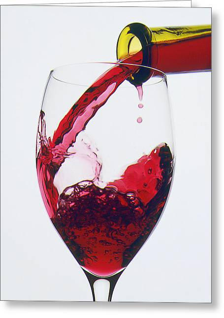 Red Wine Bottle Greeting Cards - Red wine being poured  Greeting Card by Garry Gay