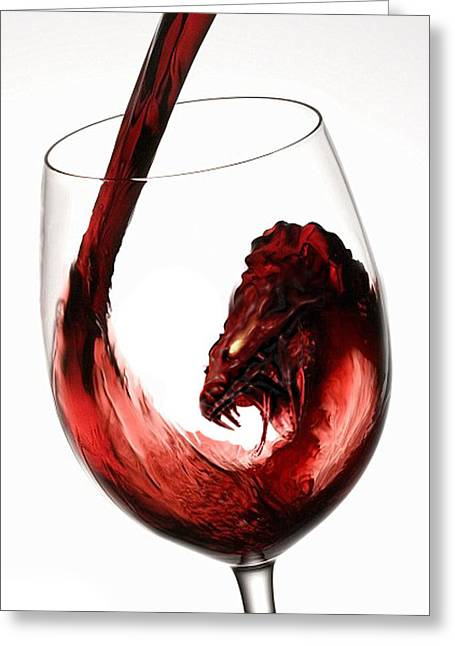 Wine Pour Digital Greeting Cards - Red Wine Dragon Greeting Card by Kieth Goode
