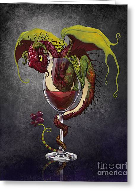 Wine-glass Digital Greeting Cards - Red Wine Dragon Greeting Card by Stanley Morrison