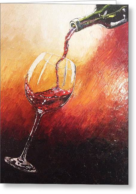Wine Pour Paintings Greeting Cards - Red Wine Greeting Card by Eryn Tehan