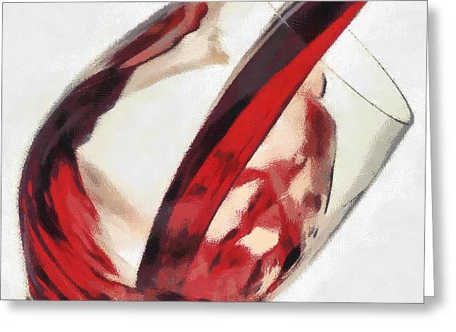 Red Wine  Into Wineglass Splash Greeting Card by Georgi Dimitrov