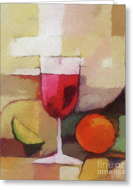 Wine Canvas Paintings Greeting Cards - Red Wine Greeting Card by Lutz Baar