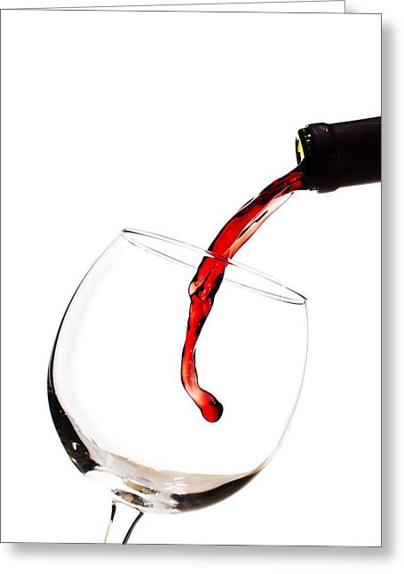 Wine-bottle Greeting Cards - Red Wine Poured into Wineglass Greeting Card by Dustin K Ryan