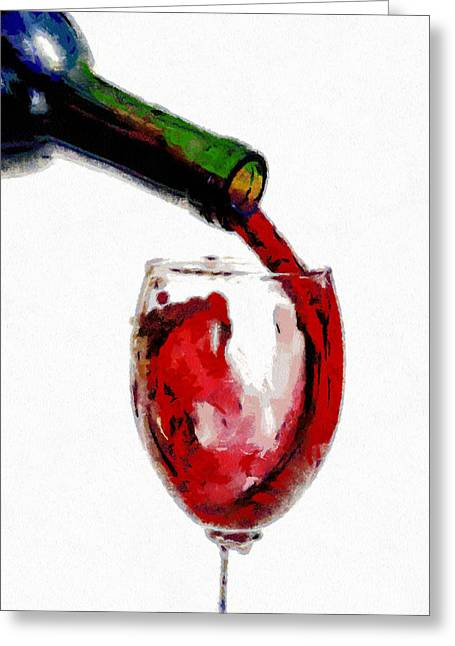 Wine Pour Greeting Cards - Red wine pouring Greeting Card by Georgi Dimitrov