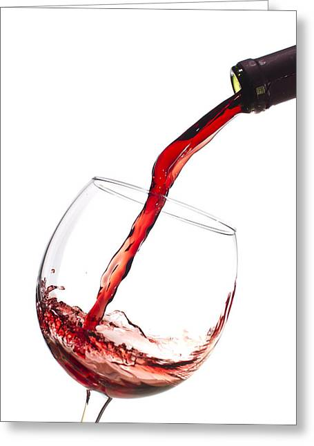 Wine Bottle Greeting Cards - Red Wine Pouring into wineglass splash Greeting Card by Dustin K Ryan