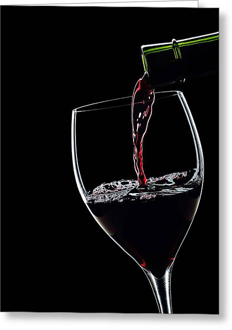 Wine Pouring Greeting Cards - Red Wine Pouring Into Wineglass Splash Silhouette Greeting Card by Alex Sukonkin