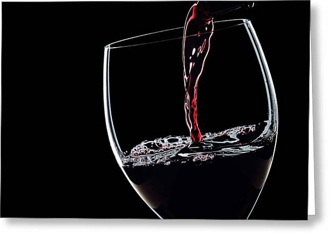 Red Wine Pouring Into Wineglass Splash Silhouette Greeting Card by Alex Sukonkin