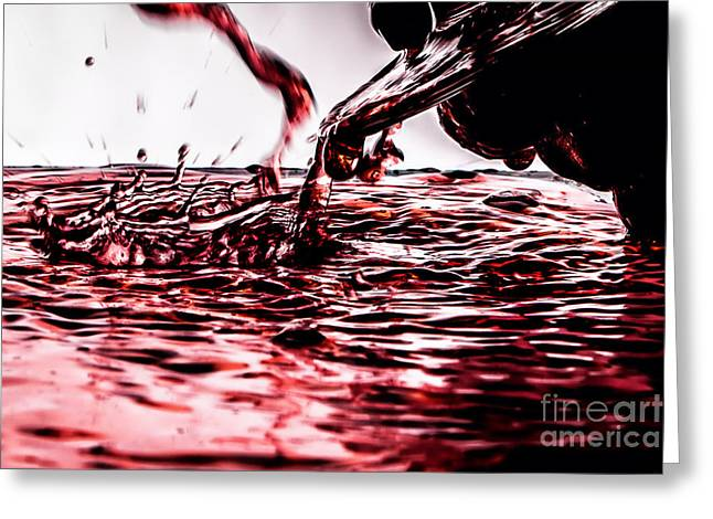 Wine Deco Art Photographs Greeting Cards - Red Wine River Splash Greeting Card by JC Kirk