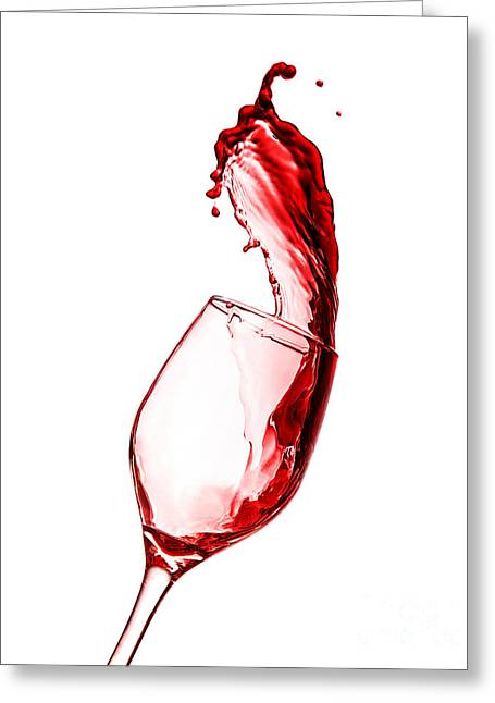Wine Pouring Greeting Cards - Red wine splash Greeting Card by Anna Omelchenko