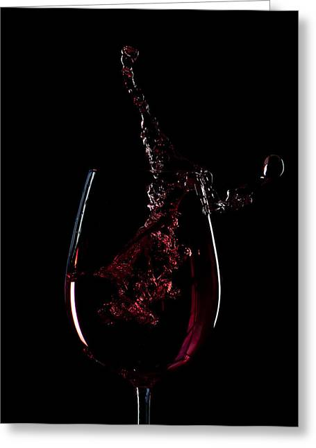 Wine Pour Greeting Cards - Red Wine Splash Silhouette Greeting Card by Xavier Gallego Morell