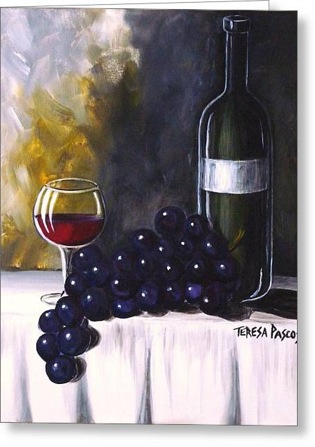 Cloth Greeting Cards - Red Wine Greeting Card by Teresa  Pascos