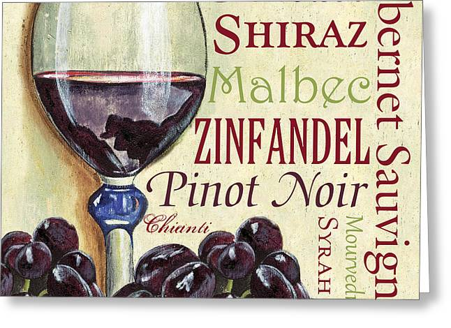 Purple Grapes Paintings Greeting Cards - Red Wine Text Greeting Card by Debbie DeWitt