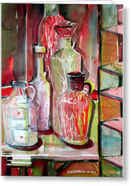 Wine Reflection Art Greeting Cards - Red Wine Vinegar Greeting Card by Mindy Newman