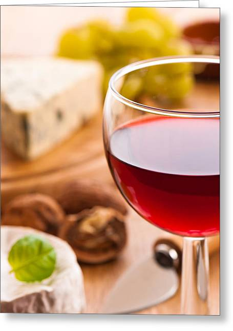 Selection Greeting Cards - Red Wine With Cheese Greeting Card by Amanda And Christopher Elwell