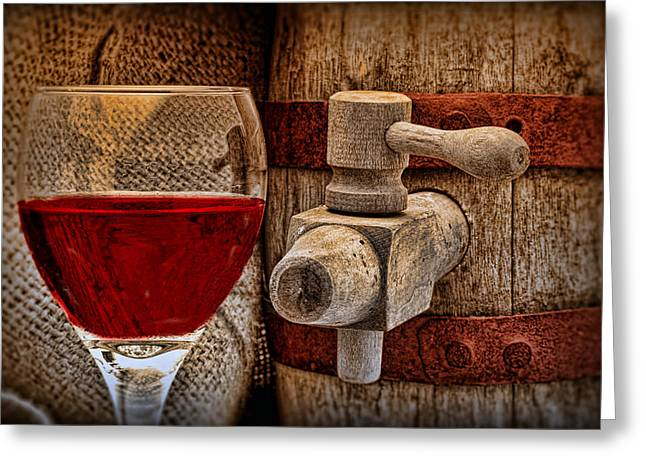 Tap Greeting Cards - Red Wine with Tapped Keg Greeting Card by Tom Mc Nemar