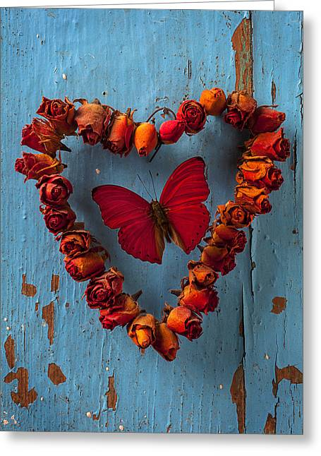 Cracked Photographs Greeting Cards - Red wing butterfly in heart Greeting Card by Garry Gay