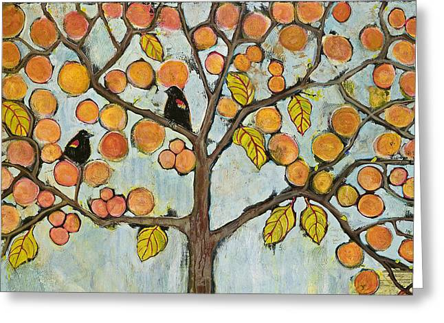 Blackbirds Greeting Cards - Red Winged Black Birds in a Tree Greeting Card by Blenda Studio