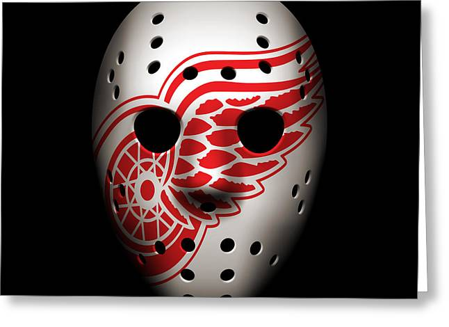 Red Wings Greeting Cards - Red Wings Goalie Mask Greeting Card by Joe Hamilton