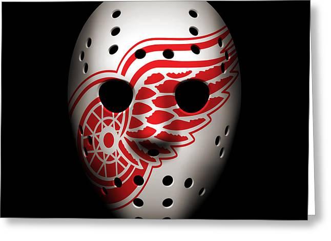 Skates Greeting Cards - Red Wings Goalie Mask Greeting Card by Joe Hamilton