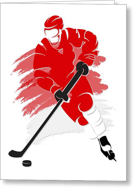 Red Wings Greeting Cards - Red Wings Shadow Player2 Greeting Card by Joe Hamilton