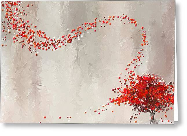 Red Maple Trees Greeting Cards - Red Winter Greeting Card by Lourry Legarde