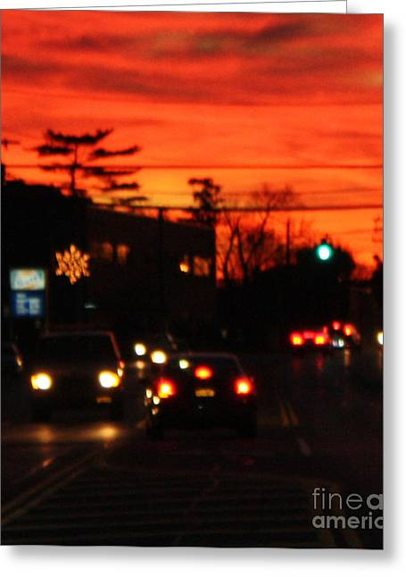 Sunset Framed Prints Greeting Cards - Red Winter Sunset Over Long Island Suburbs Greeting Card by John Telfer