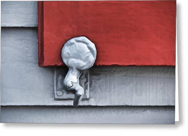 Architecture Textured Art Greeting Cards - Red Wood Window Shutter II Greeting Card by David Letts