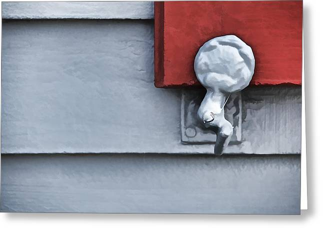 Architecture Textured Art Greeting Cards - Red Wood Window Shutter III Greeting Card by David Letts