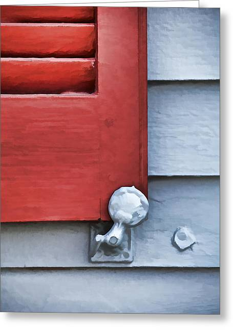 Architecture Textured Art Greeting Cards - Red Wood Window Shutter IV Greeting Card by David Letts