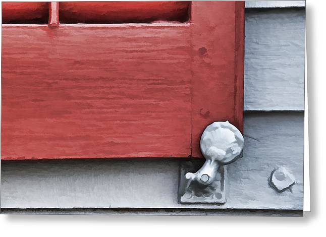Architecture Textured Art Greeting Cards - Red Wood Window Shutter VI Greeting Card by David Letts