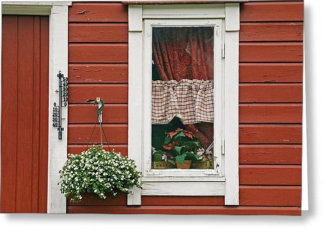 Clapboard House Greeting Cards - Red Wooden House With Plants In And By Greeting Card by Chris Parker