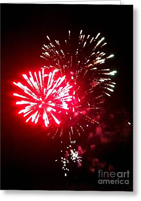 Rockets Red Glare Greeting Cards - Red Works Greeting Card by Shelia Kempf