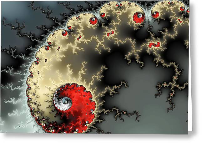Fractals Digital Art Greeting Cards - Red yellow grey and black - amazing mandelbrot fractal Greeting Card by Matthias Hauser
