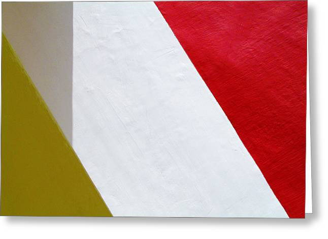 Winter Photos Photographs Greeting Cards - Red Yellow White Greeting Card by Prakash Ghai