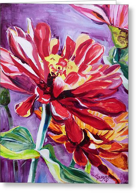 Suzanne Willis Greeting Cards - Red Zinna Greeting Card by Suzanne Willis