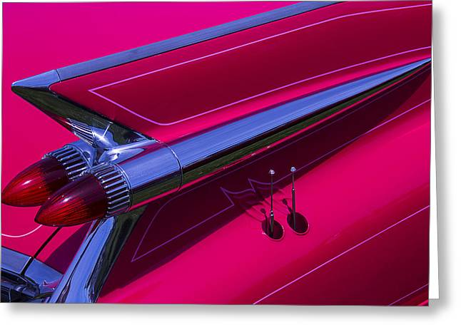 Motorized Greeting Cards - Red1959 Cadillac Greeting Card by Garry Gay