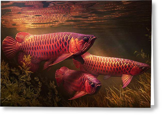 Aquatic Plant Greeting Cards - Red_Alignment Greeting Card by Javier Lazo