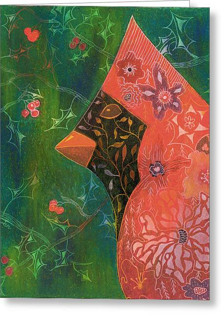 Integral Paintings Greeting Cards - Redbird Greeting Card by Jere