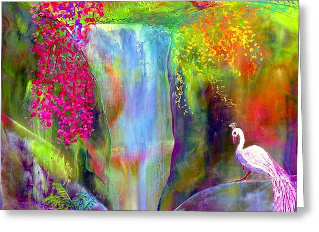 Redbud Falls Greeting Card by Jane Small