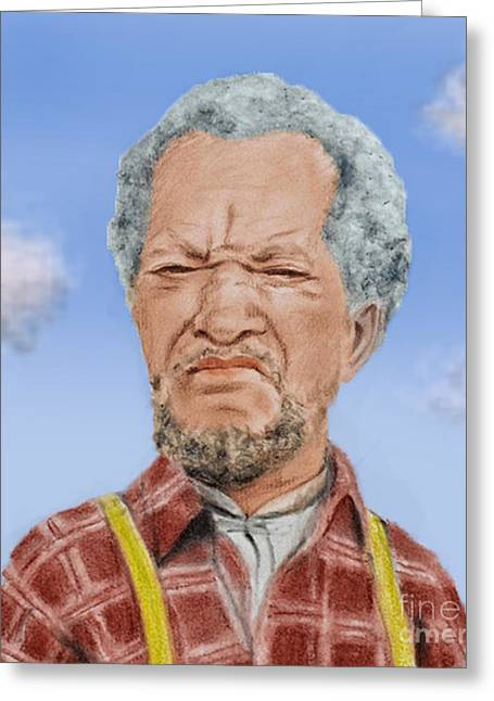 Recently Sold -  - Best Friend Greeting Cards - Redd Foxx as Fred Sanford Greeting Card by Jim Fitzpatrick