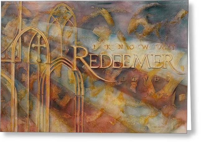 Religious Paintings Greeting Cards - Redeemer Greeting Card by Keli Lydell