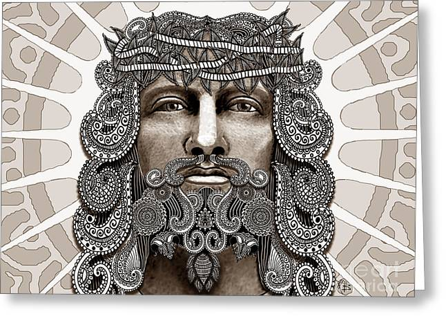 Jesus Greeting Cards - Redeemer - Modern Jesus Iconography - copyrighted Greeting Card by Christopher Beikmann