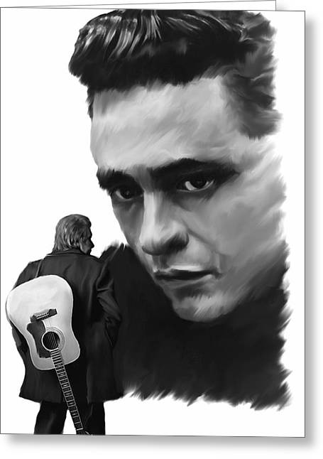 Resurrection Drawings Greeting Cards - Redemption Jonny Cash Greeting Card by Iconic Images Art Gallery David Pucciarelli