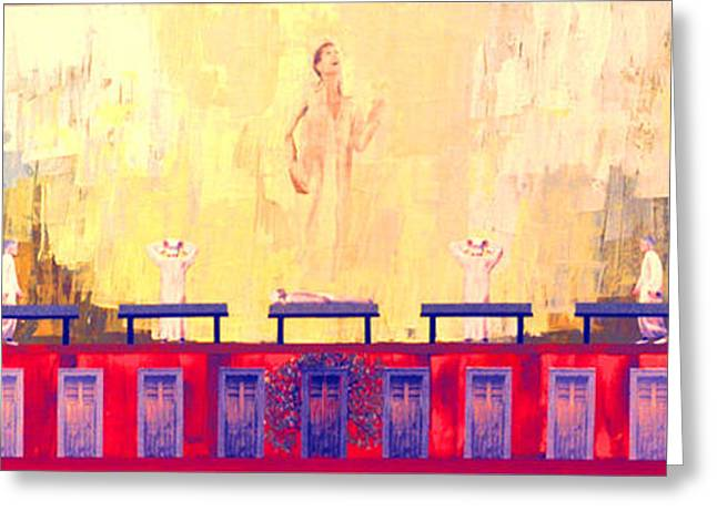 Religious Mixed Media Greeting Cards - Redemption of the Just Greeting Card by Lloyd Knowles