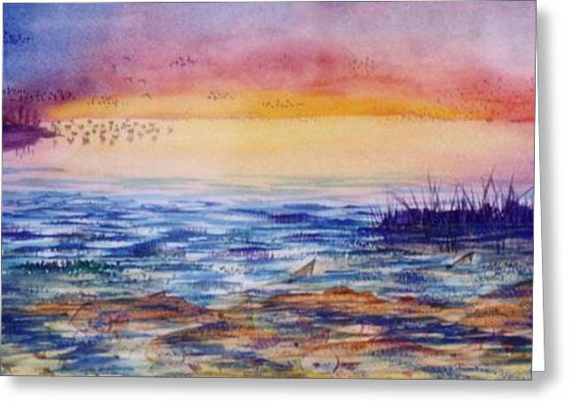 Bass Fish Mixed Media Greeting Cards - Redfish and Ducks Greeting Card by Don Hand