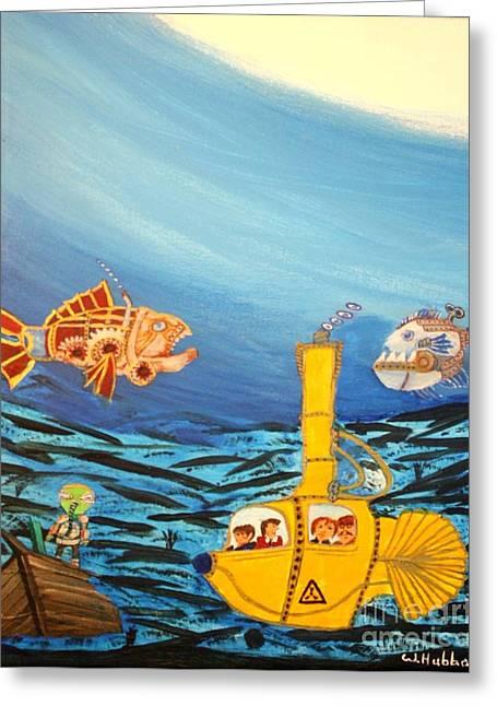 Bill Hubbard Greeting Cards - Redfish Bluefish and a Yellow Submarine Greeting Card by Bill Hubbard