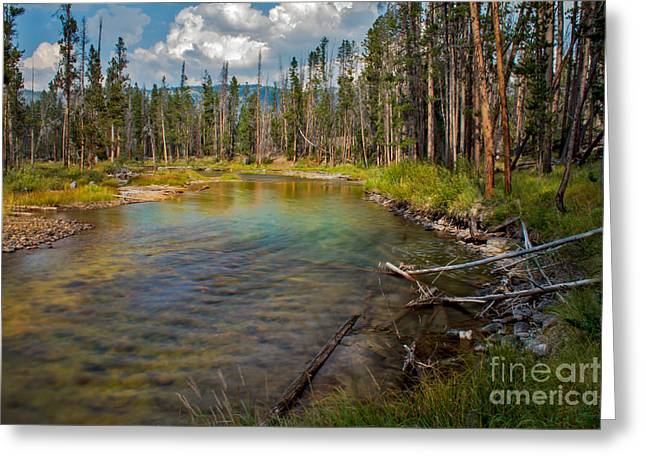 Haybales Greeting Cards - Redfish Lake Creek Greeting Card by Robert Bales
